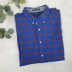 NAUTICA Plaid Oxford Career Dress Shirt XL